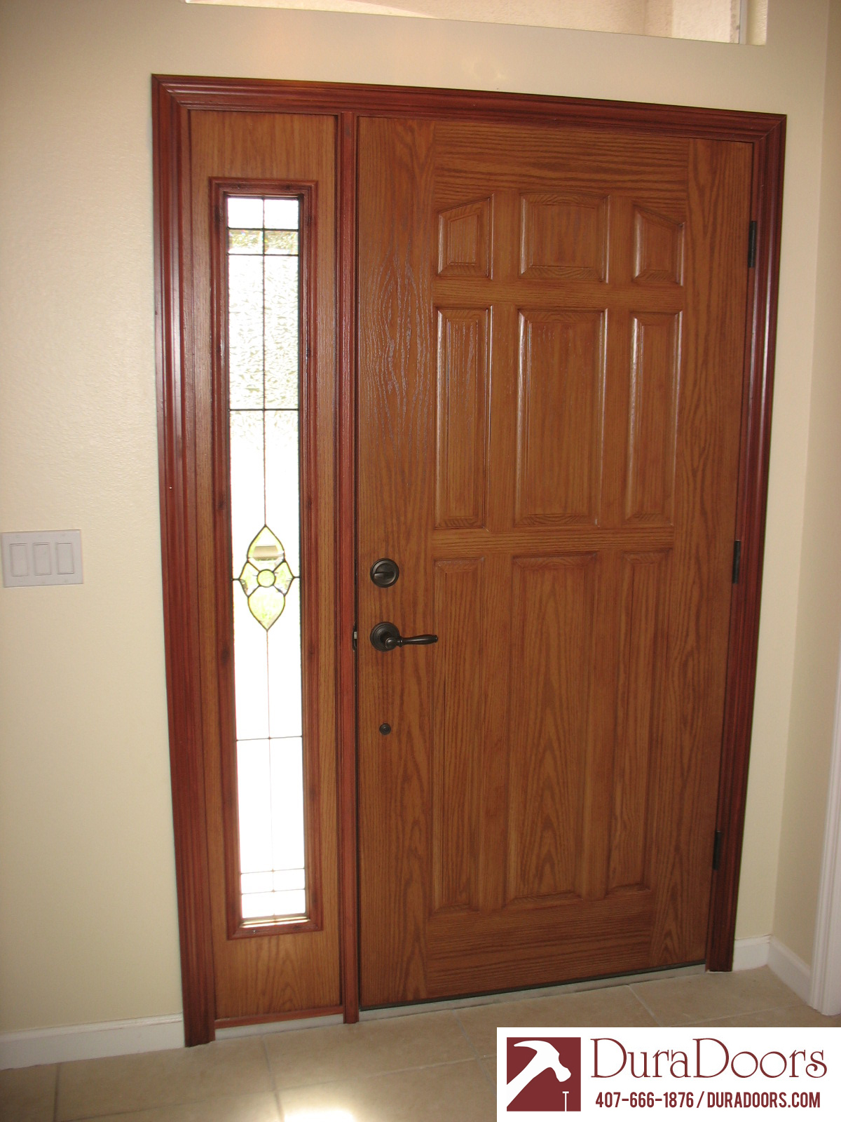 A client in Orlando FL recently had us replace an old entryway with a beautiful new one. The client selected a 9 panel door from Plastpro with a woodgrain ... & Plastpro Woodgrain Door and Sidelight with ODL Nouveau Decorative ... Pezcame.Com