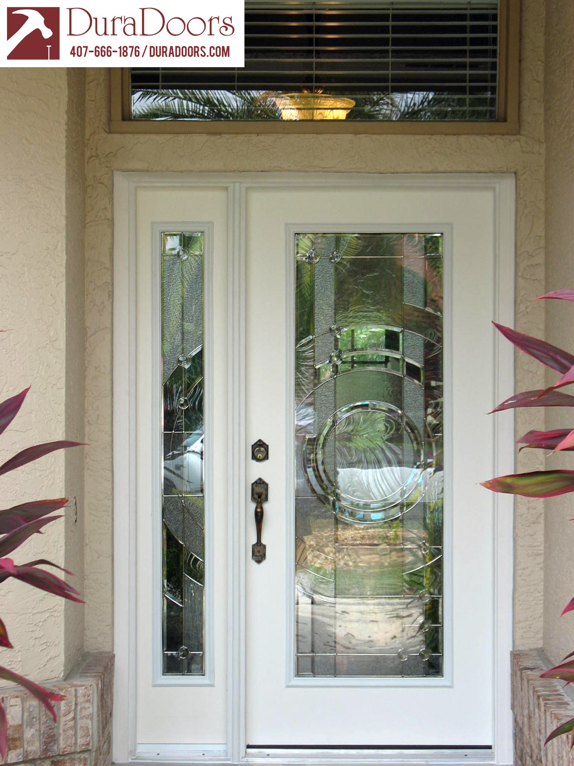 Plastpro entry door and sidelight with entropy glass by for Glass entry doors for home