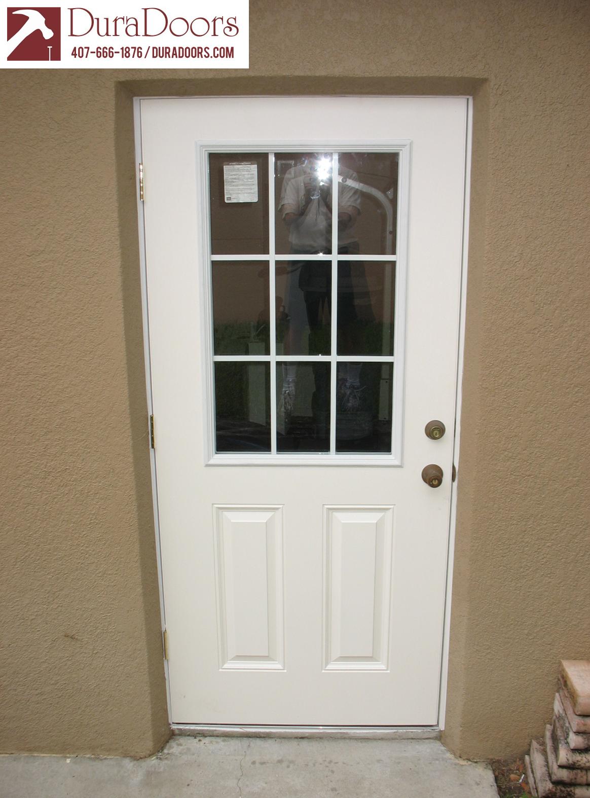 1574 #65463A Plastpro Smooth Fiberglass 9 Lite Door DuraDoors image Fiberglass Doors 41431164