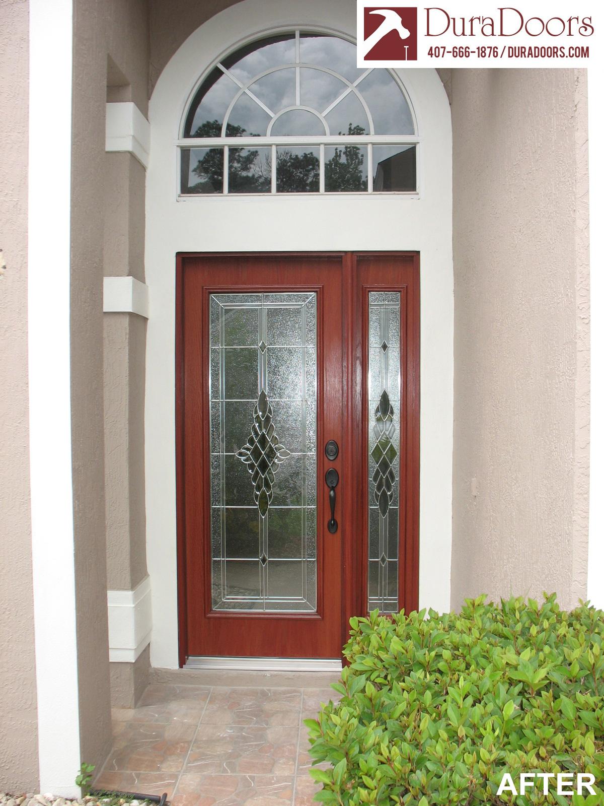 Woodgrain Door With Grace Style Glass Duradoors