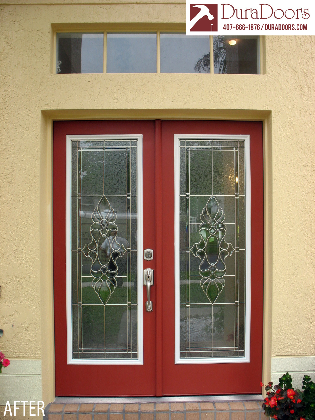 We Transformed This Double Door Entrance For Customers In East Orlando, FL,  By Installing Decorative Glass In Their Existing Doors.