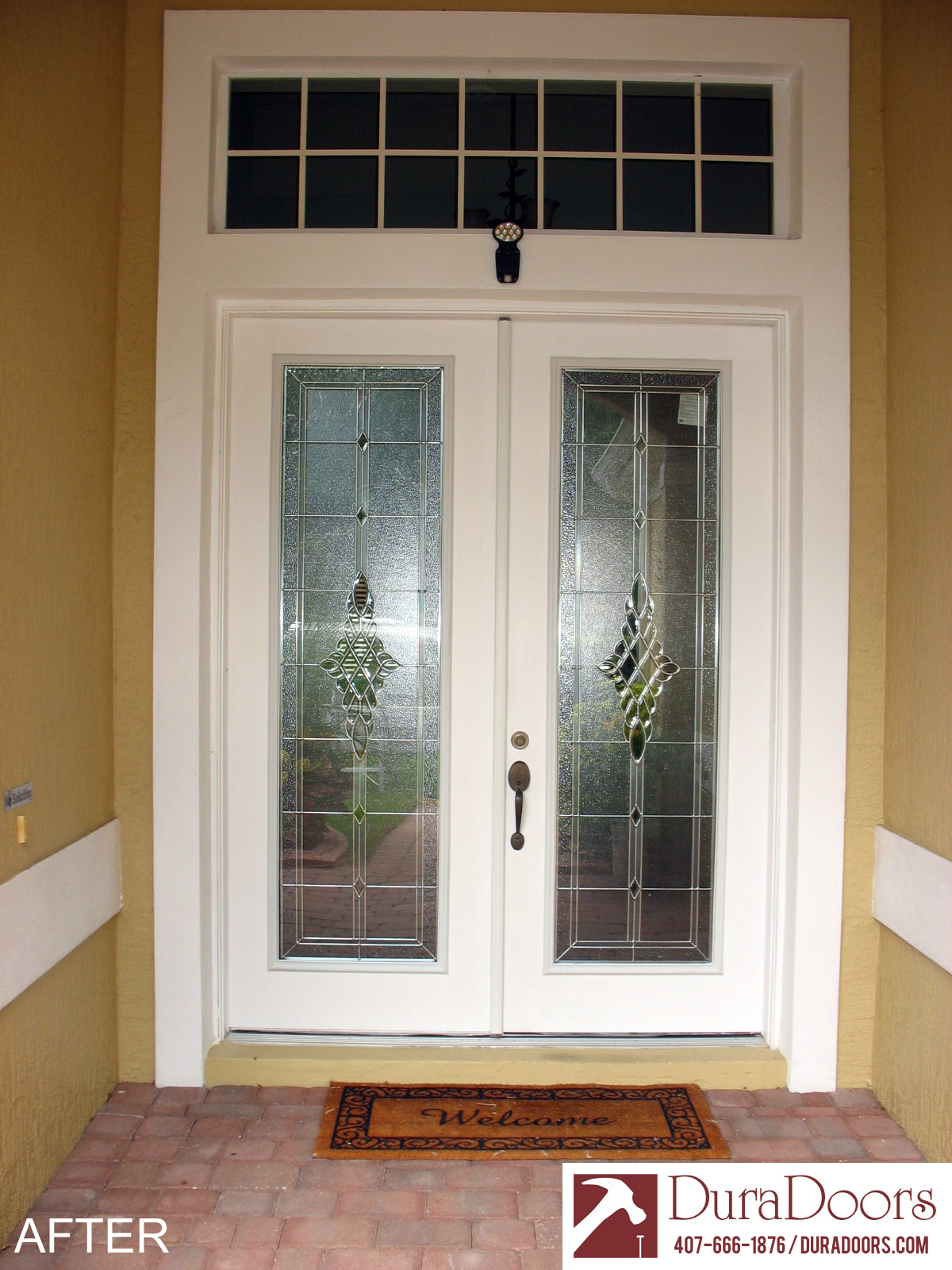 Odl grace decorative glass duradoors for Decorative glass for entry doors