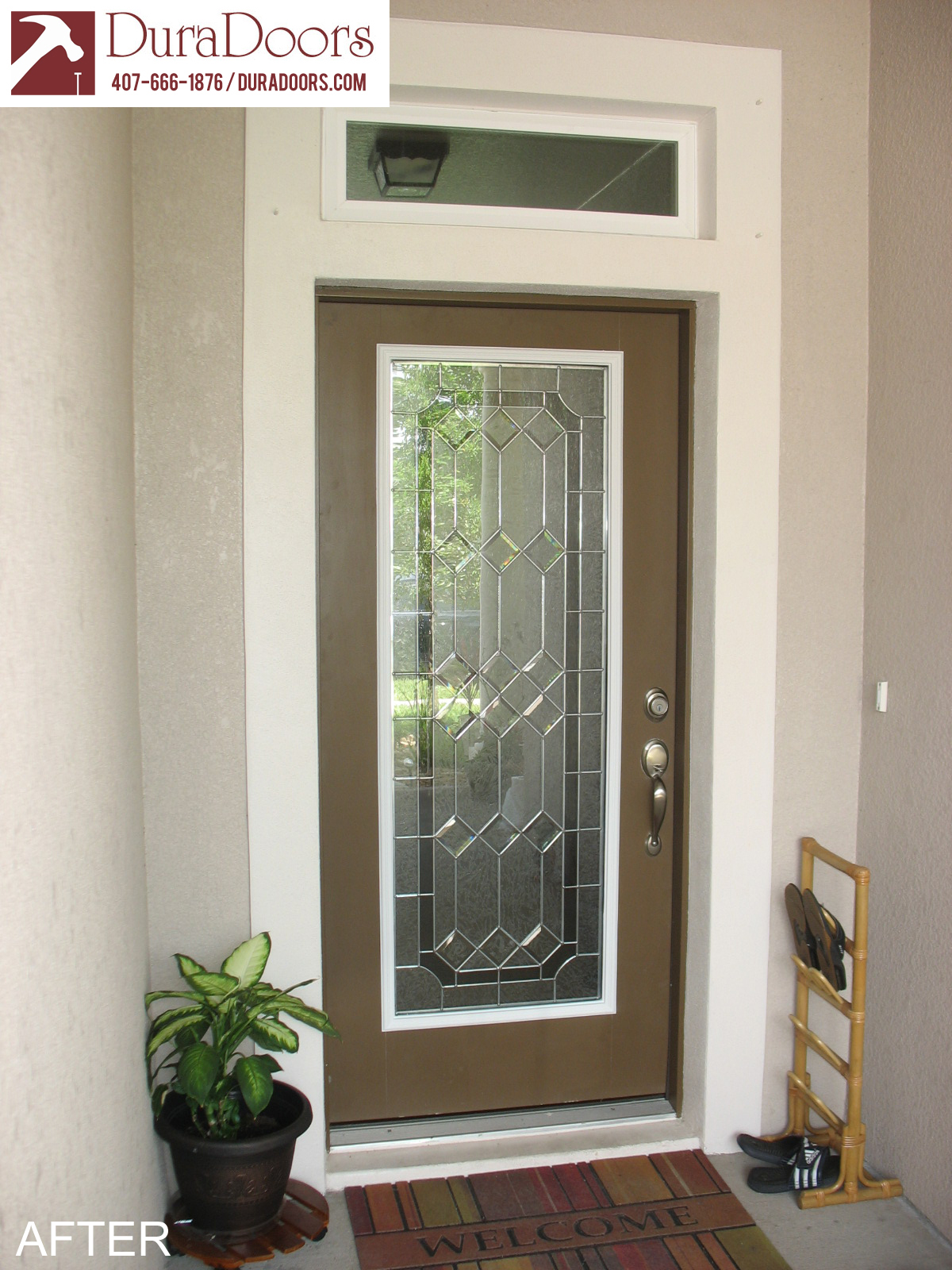 Door #1021. Majestic-after & Majestic Glass with Nickel Caming | DuraDoors
