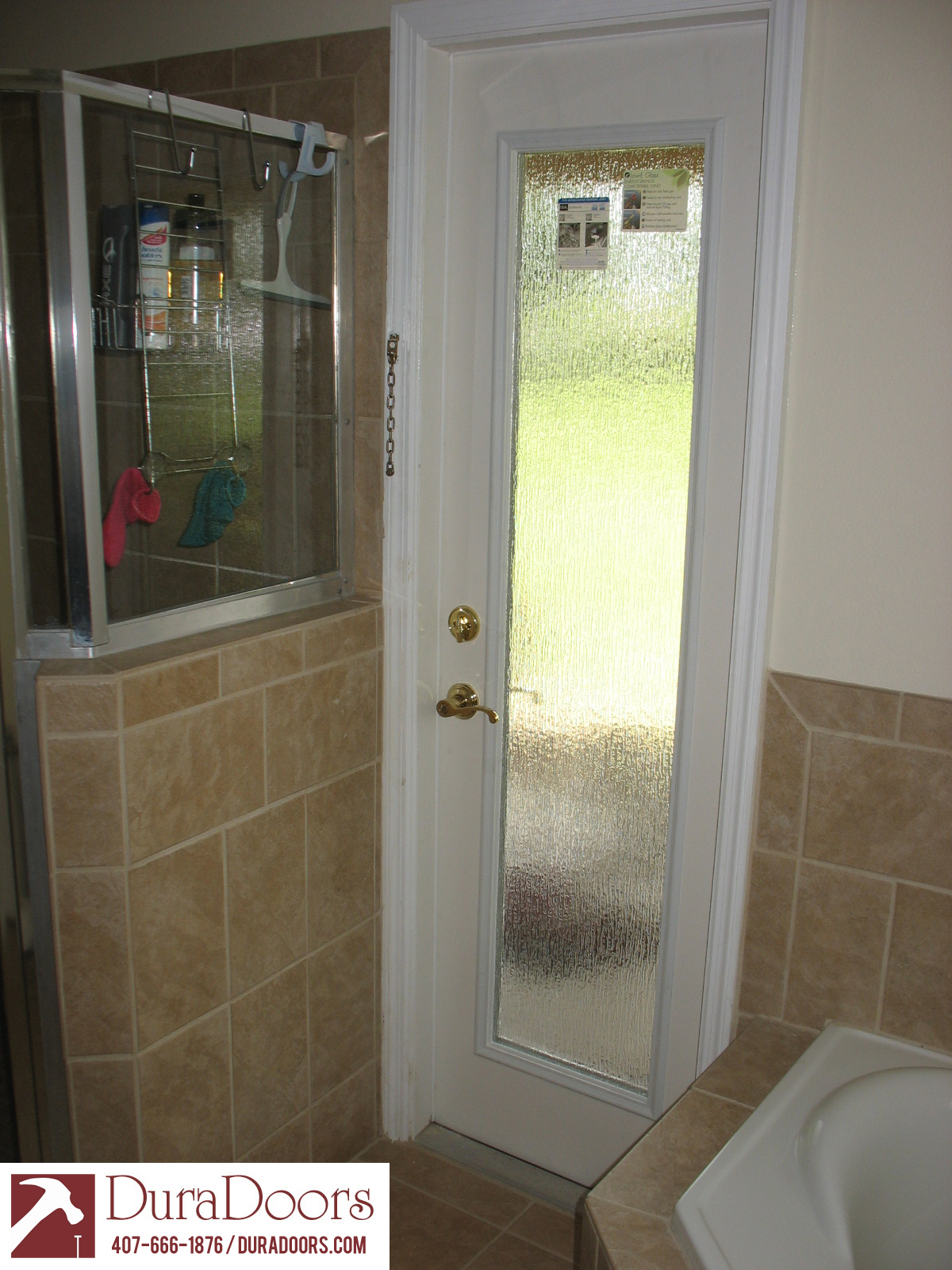 Bathroom door with odl privacy rain glass duradoors for Bathroom entrance doors