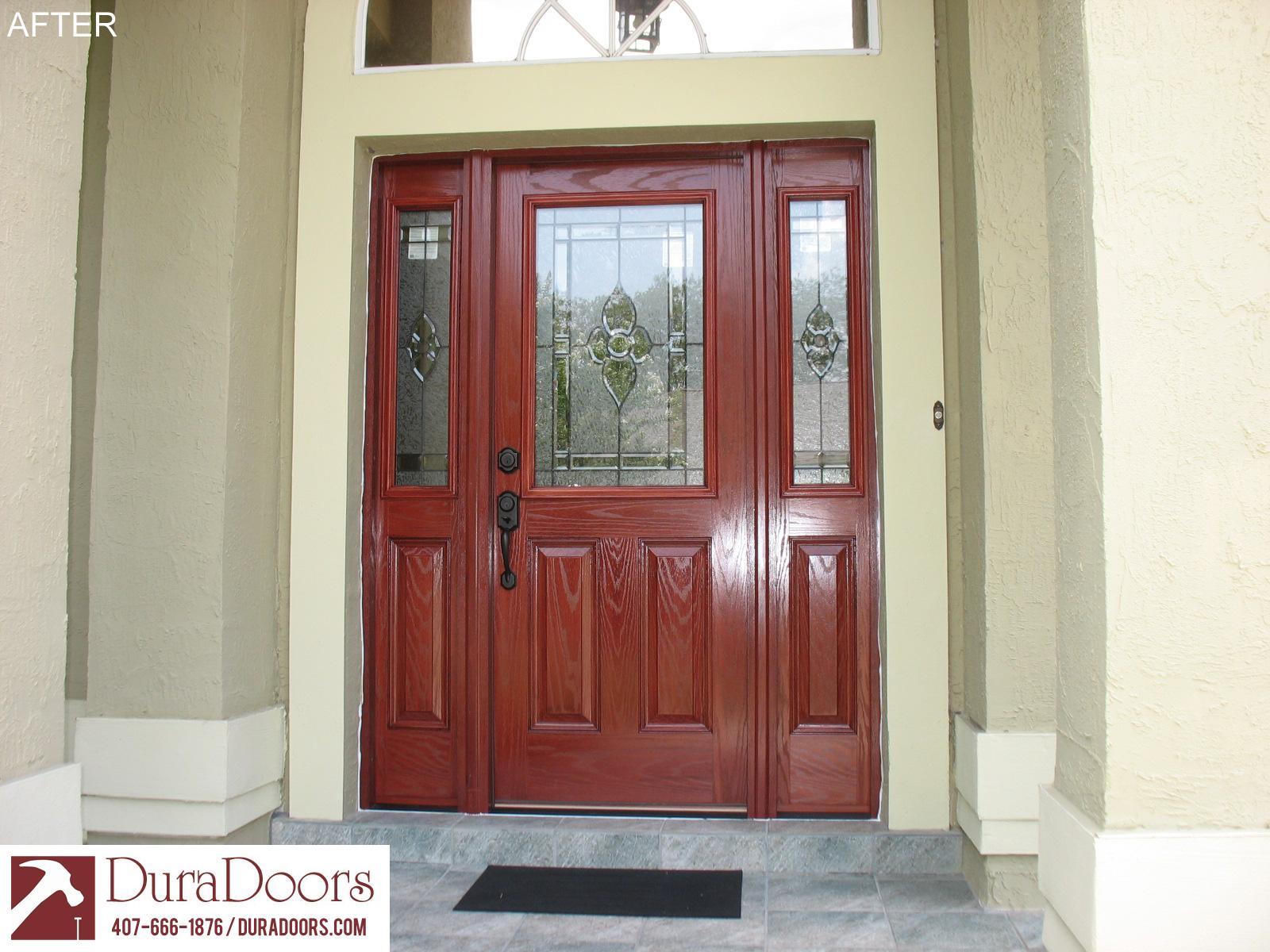Woodgrain Plastpro Door With Classic Nouveau Glass Duradoors
