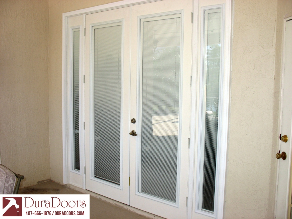 Fiberglass Exterior French Doors With Blinds