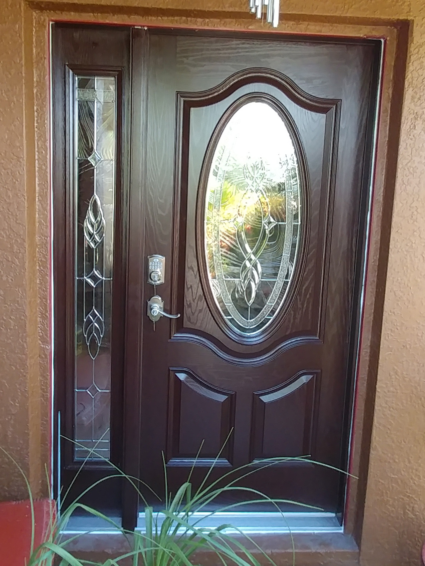Brentwood Glass In Moorish Teak Finished Door Duradoors